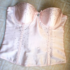 Silk Wedding Basque Pink ZL7C Bjem Bride