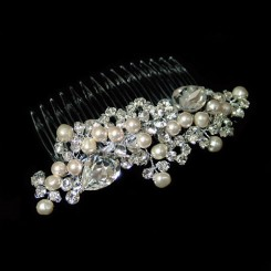 Swarovski Crystal and Pearl Wedding Hair Comb