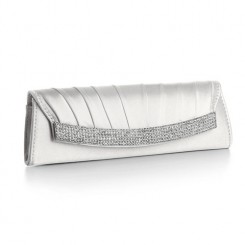 Oyster Satin Bridal Clutch Bag - Odette