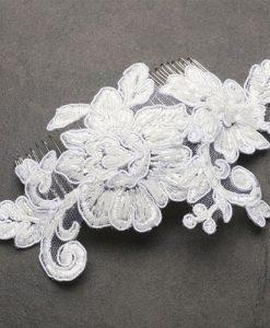lace rose bridal comb aurora
