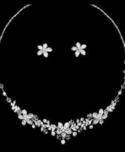 Crystal Flower Jewellery Set - Anna