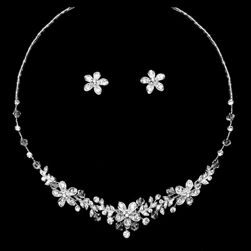 Crystal Flower Jewellery Set - Anna