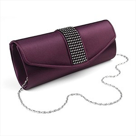 Purple Satin Evening Bag - Zaphira Bridal
