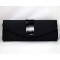 Black Satin Crystal Clutch Bag