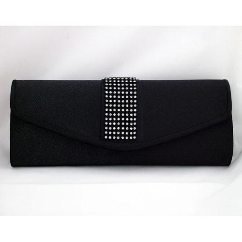 Black Satin Crystal Clutch Bag