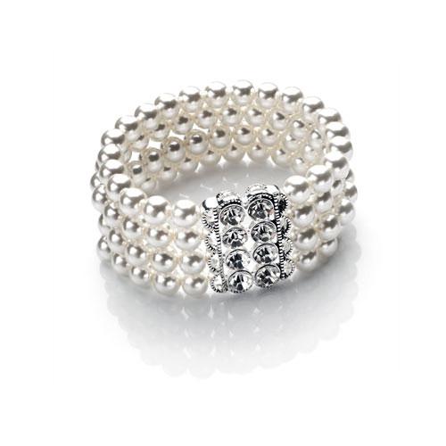 Four Row Pearl Wedding Bracelet-white