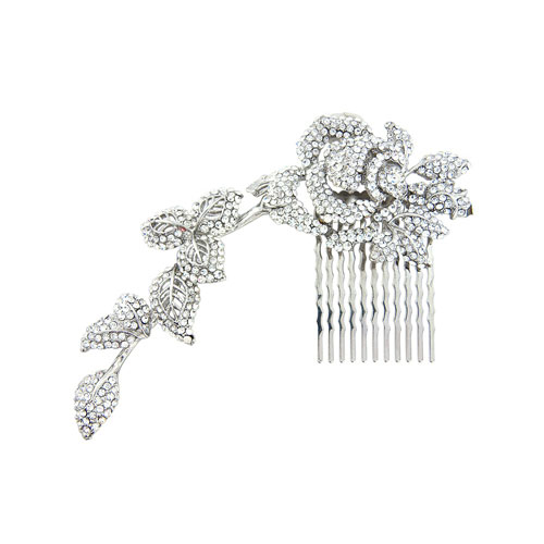 trailing crystal bridal comb