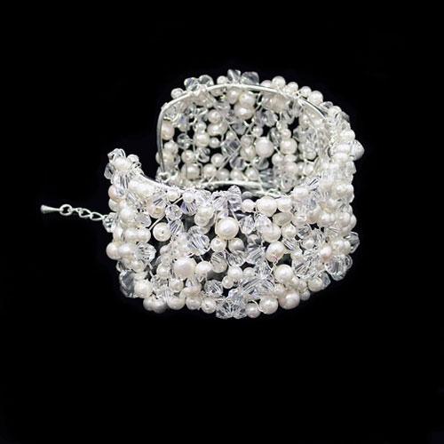 Monaco Pearl Bridal Cuff Bracelet