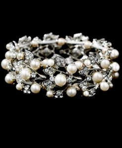 Crystal and Pearl Bridal Bracelet - Amy