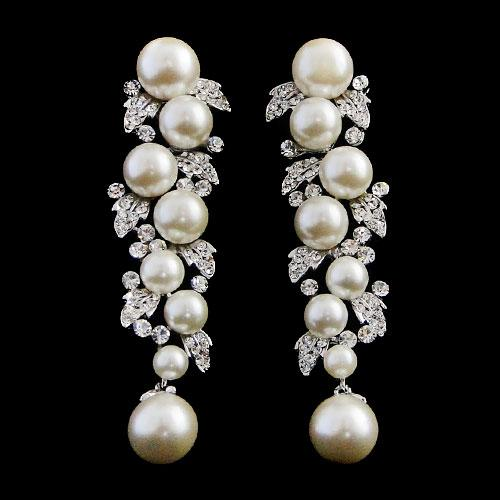 pearl & crystal drop earrings er78