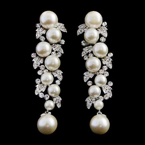 pearl & crystal drop earrings er78