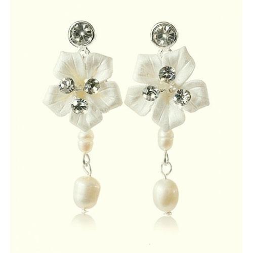 Petal Floral Wedding Earrings by Starlet Jewellery