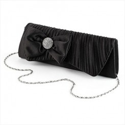 Black Ruched Satin Evening Bag