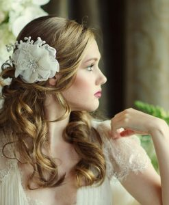 organza wedding hair flower verena - ivory