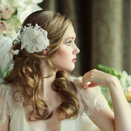 organza wedding hair flower verena - ivory