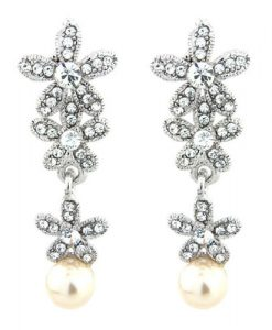 Vintage Crystal and Pearl Earrings Carmen