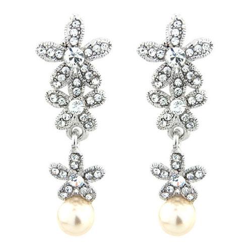 Vintage Crystal and Pearl Earrings Carmen