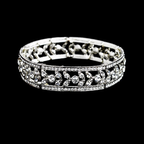 The sophisticated Eleanor Vintage Style Bridal Bracelet is a vintage influenced piece with beautiful sparkling clear crystals.
