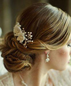vivienne floral bridal comb