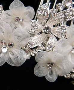 Organza Flower Bridal Comb-Marianne