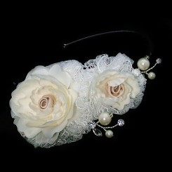 Champagne and Ivory Lace Side Tiara