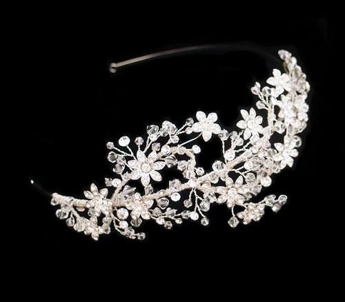 Crystal Flower Bridal Side Tiara