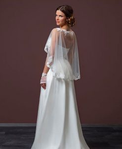 Lace Trimmed Tulle Capelet