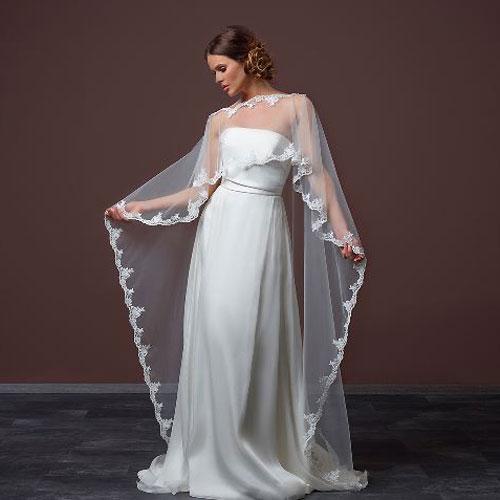 Long Tulle Wedding Cape