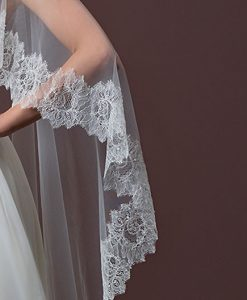 Long Tulle Wedding Cape