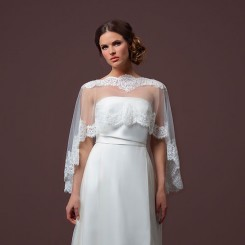 Lace Edged Tulle Capelet
