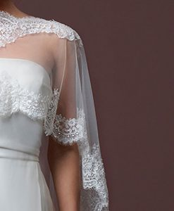 Lace Edged Tulle Capelet-detail