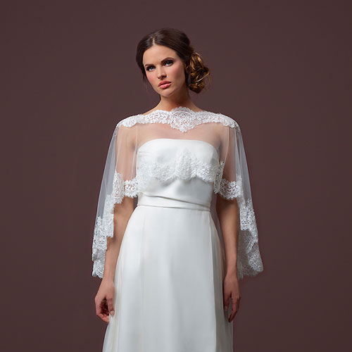 Lace Edged Tulle Capelet – Chloe. Long Tulle Bridal Cape bf7b42daf