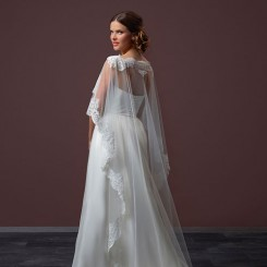 Long Tulle Bridal Cape