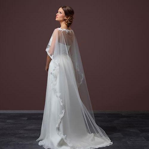 Long Tulle Wedding Cape Cadence Zaphira Bridal