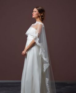 Tulle Wedding Cape with Train