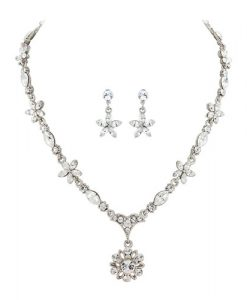 Crystal Flower Wedding Jewellery Set