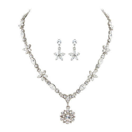 Crystal Flower Wedding Jewellery Set