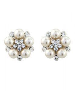 Pearl Crystal Cluster Earrings