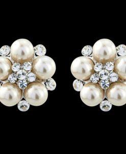 Pearl Crystal Cluster Earrings