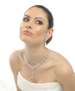 Carmen Crystal Pearl Wedding Necklace - a gorgeous glamorous wedding necklace which teams classic glittering Swarovski crystal with lustrous ivory pearls.