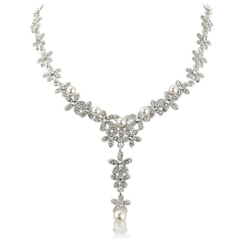 Carmen Crystal Pearl Wedding Necklace