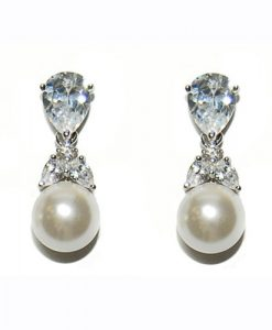 Cubic Zirconia Pearl Earrings
