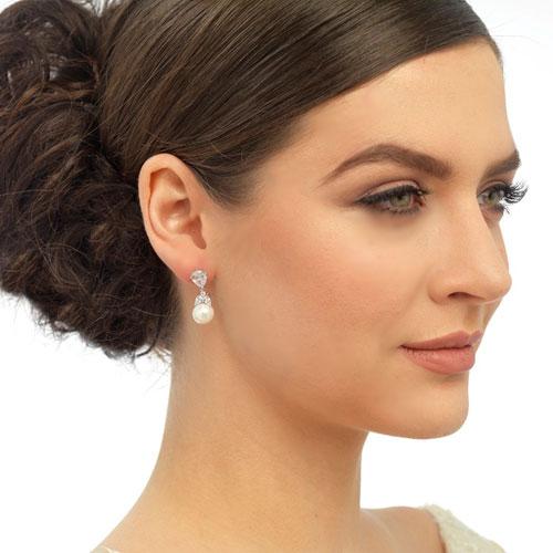 Cubic Zirconia Pearl Earrings