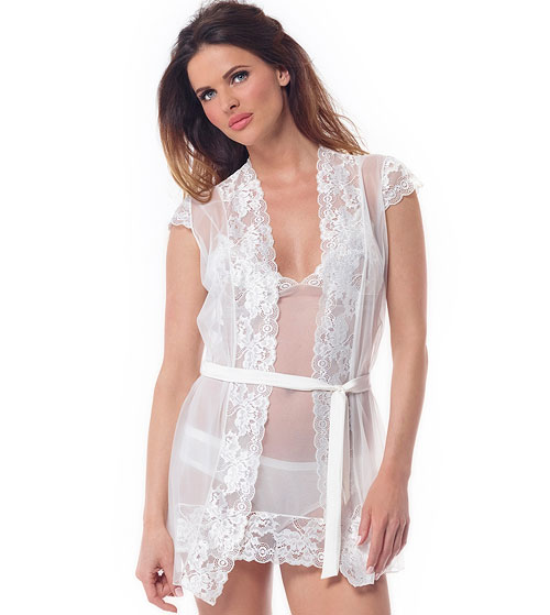 371c4e2772 Penrose Lace Short Honeymoon Kimono - Zaphira Bridal
