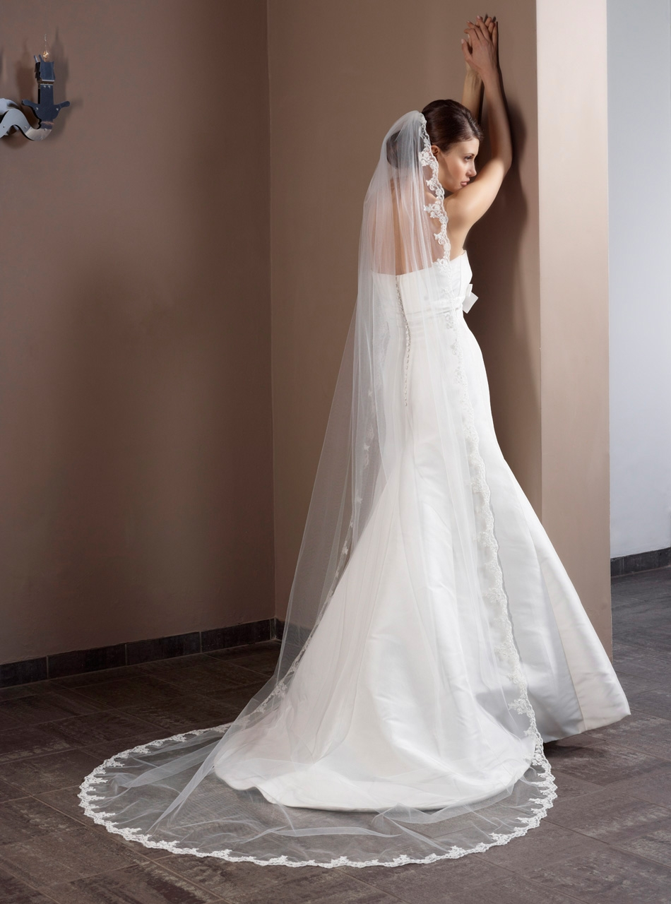 8cccbb6998 Poirier Soft 1 Layer Lace Wedding Veil - Zaphira Bridal