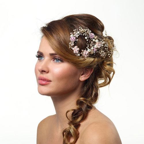 Pink Floral Gold Bridal Hair Comb - BB-312