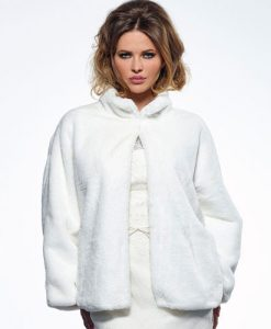 Ivory Faux Fur Wedding Jacket BOL-50