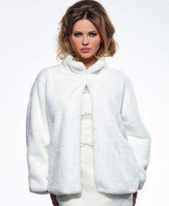 Ivory Faux Fur Wedding Jacket BOL-50