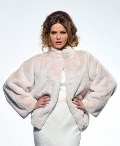 Champagne Faux Fur Wedding Jacket BOL-50