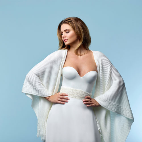 Poirier S161 Ivory Knitted Wedding Stole